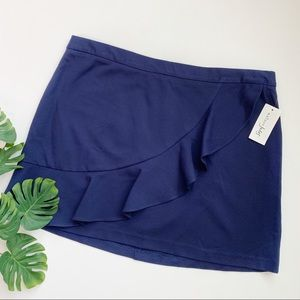 Maison Jules Navy Skirt with Ruffle
